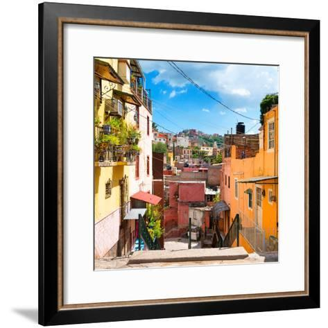 ¡Viva Mexico! Square Collection - Colorful Street in Guanajuato-Philippe Hugonnard-Framed Art Print