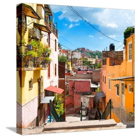 ¡Viva Mexico! Square Collection - Colorful Street in Guanajuato-Philippe Hugonnard-Stretched Canvas Print