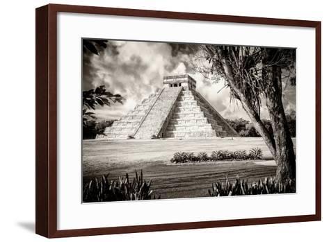 ?Viva Mexico! B&W Collection - El Castillo Pyramid XII - Chichen Itza-Philippe Hugonnard-Framed Art Print