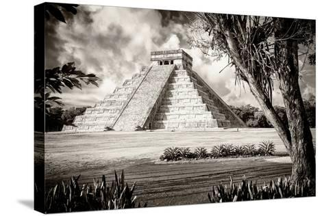 ?Viva Mexico! B&W Collection - El Castillo Pyramid XII - Chichen Itza-Philippe Hugonnard-Stretched Canvas Print