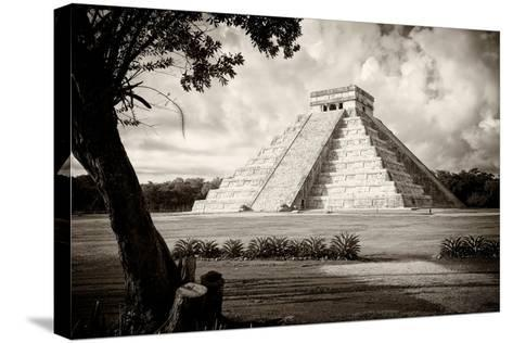 ?Viva Mexico! B&W Collection - Chichen Itza Pyramid I-Philippe Hugonnard-Stretched Canvas Print