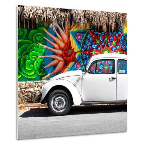 ¡Viva Mexico! Square Collection - White VW Beetle Car in Cancun-Philippe Hugonnard-Metal Print