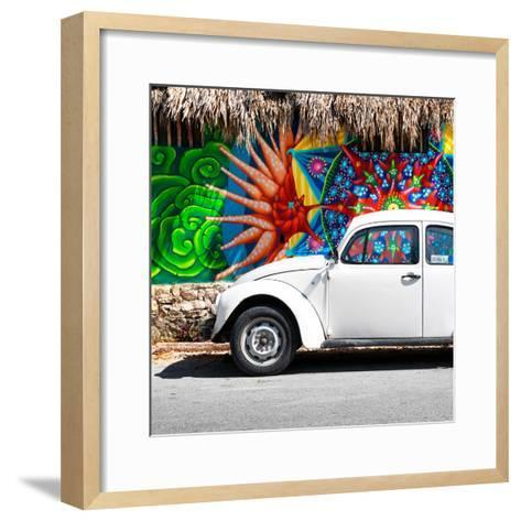 ¡Viva Mexico! Square Collection - White VW Beetle Car in Cancun-Philippe Hugonnard-Framed Art Print