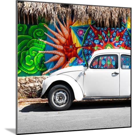 ¡Viva Mexico! Square Collection - White VW Beetle Car in Cancun-Philippe Hugonnard-Mounted Photographic Print