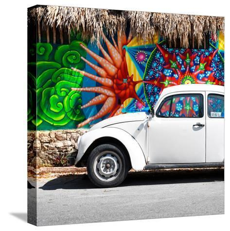 ¡Viva Mexico! Square Collection - White VW Beetle Car in Cancun-Philippe Hugonnard-Stretched Canvas Print