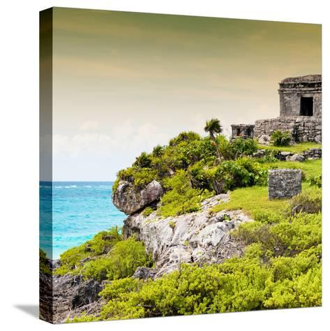 ¡Viva Mexico! Square Collection - Ancient Mayan Fortress in Riviera Maya III - Tulum-Philippe Hugonnard-Stretched Canvas Print