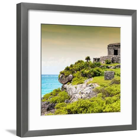 ¡Viva Mexico! Square Collection - Ancient Mayan Fortress in Riviera Maya III - Tulum-Philippe Hugonnard-Framed Art Print