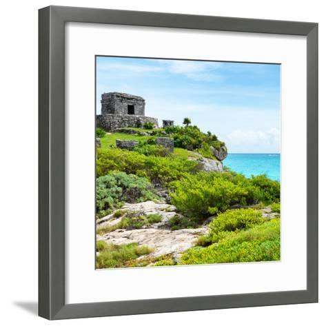 ¡Viva Mexico! Square Collection - Ancient Mayan Fortress in Riviera Maya IV - Tulum-Philippe Hugonnard-Framed Art Print
