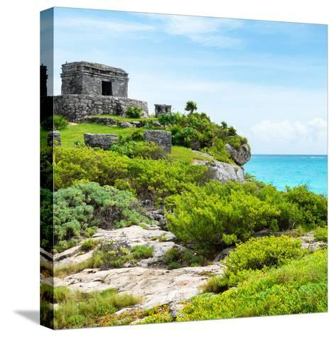 ¡Viva Mexico! Square Collection - Ancient Mayan Fortress in Riviera Maya IV - Tulum-Philippe Hugonnard-Stretched Canvas Print