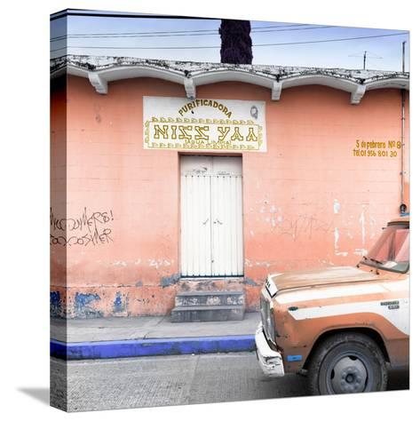 "¡Viva Mexico! Square Collection - ""5 de febrero"" Coral Wall-Philippe Hugonnard-Stretched Canvas Print"