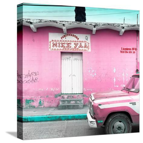 """¡Viva Mexico! Square Collection - """"5 de febrero"""" Pink Wall-Philippe Hugonnard-Stretched Canvas Print"""