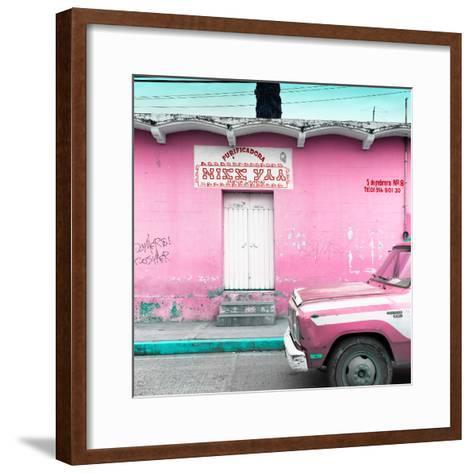 "¡Viva Mexico! Square Collection - ""5 de febrero"" Pink Wall-Philippe Hugonnard-Framed Art Print"