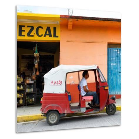 ¡Viva Mexico! Square Collection - Red Tuk Tuk-Philippe Hugonnard-Metal Print
