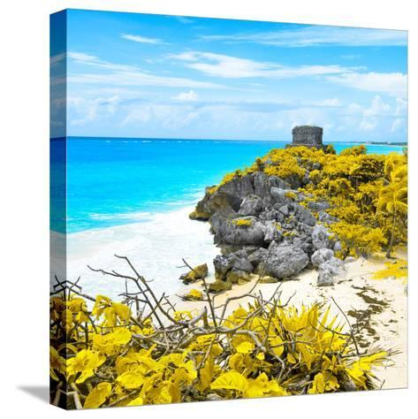 ¡Viva Mexico! Square Collection - Tulum Ruins along Caribbean Coastline V-Philippe Hugonnard-Stretched Canvas Print