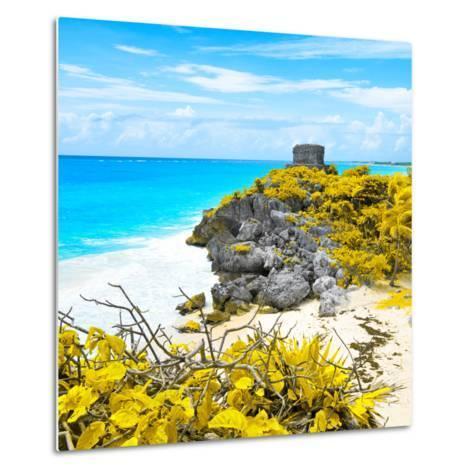 ¡Viva Mexico! Square Collection - Tulum Ruins along Caribbean Coastline V-Philippe Hugonnard-Metal Print