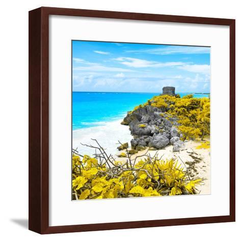 ¡Viva Mexico! Square Collection - Tulum Ruins along Caribbean Coastline V-Philippe Hugonnard-Framed Art Print