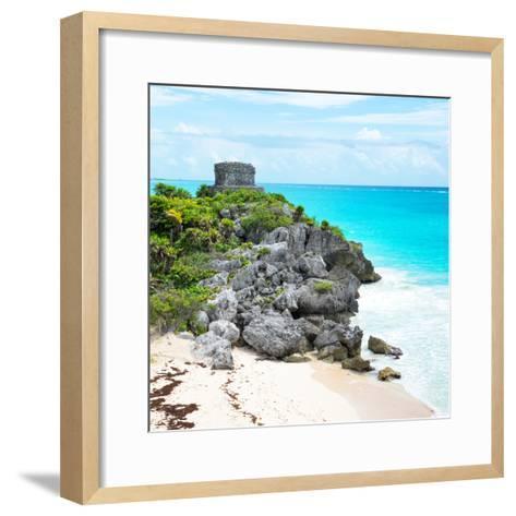 ¡Viva Mexico! Square Collection - Tulum Ruins along Caribbean Coastline VI-Philippe Hugonnard-Framed Art Print