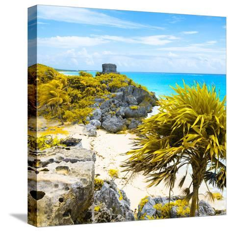 ¡Viva Mexico! Square Collection - Tulum Ruins along Caribbean Coastline II-Philippe Hugonnard-Stretched Canvas Print