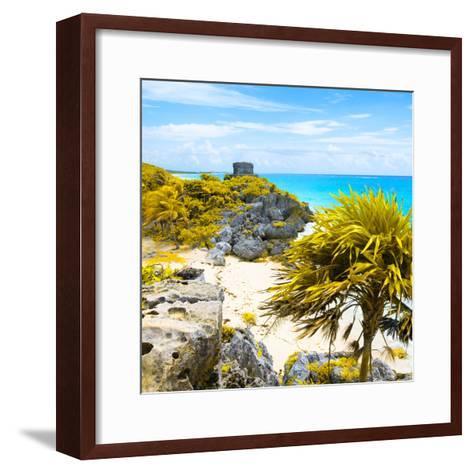 ¡Viva Mexico! Square Collection - Tulum Ruins along Caribbean Coastline II-Philippe Hugonnard-Framed Art Print