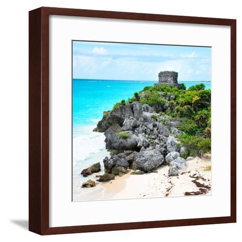 ¡Viva Mexico! Square Collection - Tulum Ruins along Caribbean Coastline IX-Philippe Hugonnard-Framed Art Print