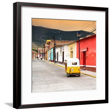 ?Viva Mexico! Square Collection - Mexican Street with Tuk Tuk at Sunset-Philippe Hugonnard-Framed Art Print