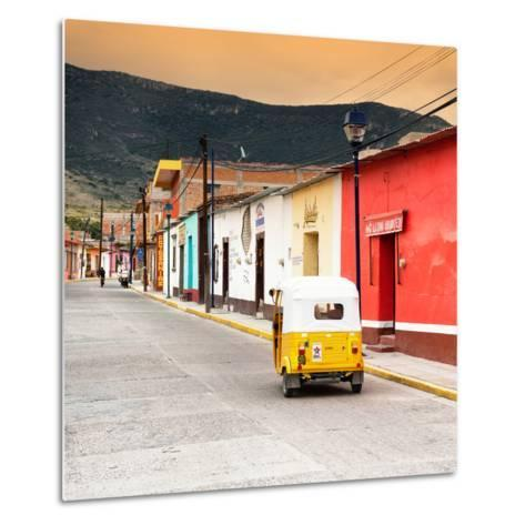 ?Viva Mexico! Square Collection - Mexican Street with Tuk Tuk at Sunset-Philippe Hugonnard-Metal Print