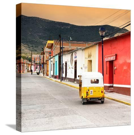 ?Viva Mexico! Square Collection - Mexican Street with Tuk Tuk at Sunset-Philippe Hugonnard-Stretched Canvas Print