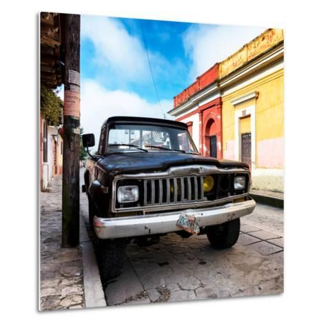 ¡Viva Mexico! Square Collection - Old Jeep in the street of San Cristobal-Philippe Hugonnard-Metal Print