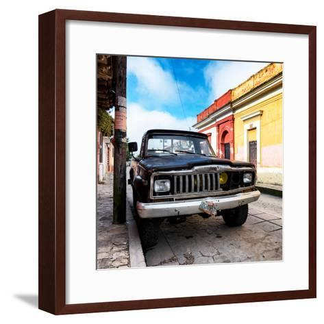 ¡Viva Mexico! Square Collection - Old Jeep in the street of San Cristobal-Philippe Hugonnard-Framed Art Print