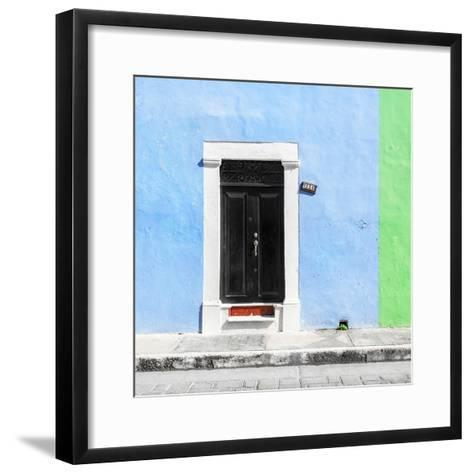¡Viva Mexico! Square Collection - Blue and Green Facade - Campeche-Philippe Hugonnard-Framed Art Print