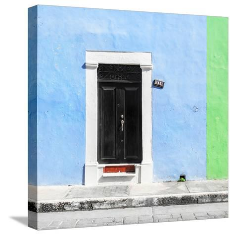¡Viva Mexico! Square Collection - Blue and Green Facade - Campeche-Philippe Hugonnard-Stretched Canvas Print