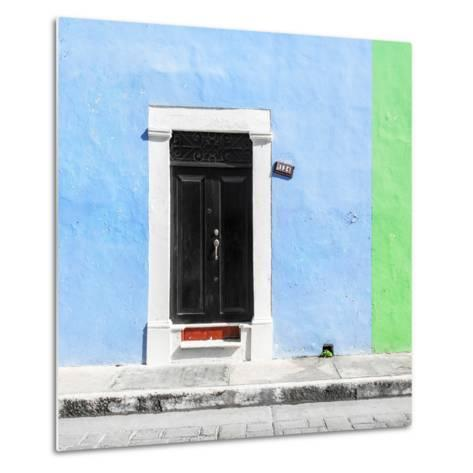 ¡Viva Mexico! Square Collection - Blue and Green Facade - Campeche-Philippe Hugonnard-Metal Print