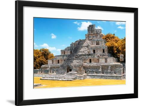 ?Viva Mexico! Collection - Maya Archaeological Site with Fall Colors IV - Edzna Campeche-Philippe Hugonnard-Framed Art Print