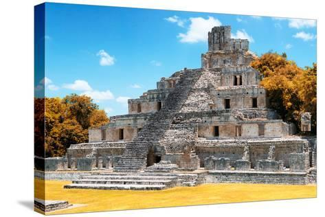 ?Viva Mexico! Collection - Maya Archaeological Site with Fall Colors IV - Edzna Campeche-Philippe Hugonnard-Stretched Canvas Print