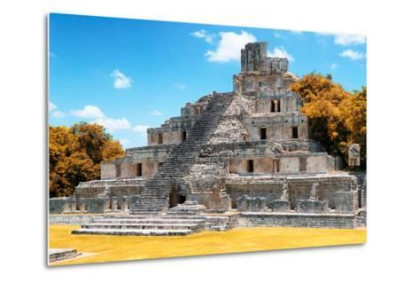 ?Viva Mexico! Collection - Maya Archaeological Site with Fall Colors IV - Edzna Campeche-Philippe Hugonnard-Metal Print