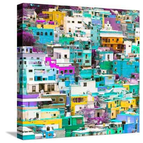 ¡Viva Mexico! Square Collection - Guanajuato Colorful Cityscape V-Philippe Hugonnard-Stretched Canvas Print