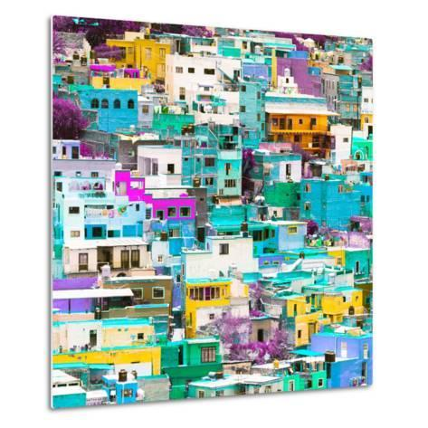 ¡Viva Mexico! Square Collection - Guanajuato Colorful Cityscape V-Philippe Hugonnard-Metal Print