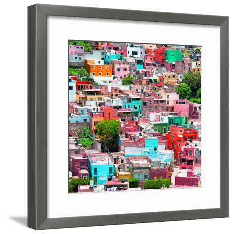 ¡Viva Mexico! Square Collection - Guanajuato Colorful Cityscape II-Philippe Hugonnard-Framed Art Print