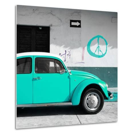 ¡Viva Mexico! Square Collection - Turquoise VW Beetle Car & Peace Symbol-Philippe Hugonnard-Metal Print