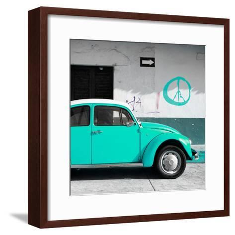¡Viva Mexico! Square Collection - Turquoise VW Beetle Car & Peace Symbol-Philippe Hugonnard-Framed Art Print