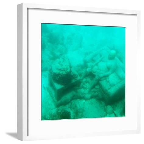 ¡Viva Mexico! Square Collection - Sculptures at bottom of sea in Cancun III-Philippe Hugonnard-Framed Art Print