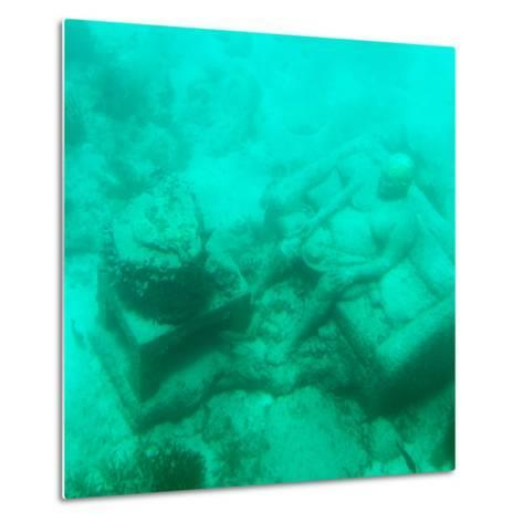 ¡Viva Mexico! Square Collection - Sculptures at bottom of sea in Cancun III-Philippe Hugonnard-Metal Print