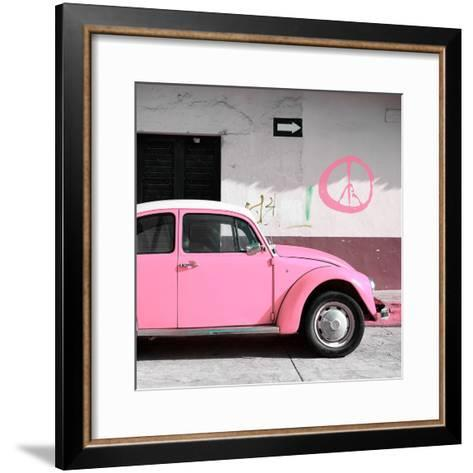 ¡Viva Mexico! Square Collection - Pink VW Beetle Car & Peace Symbol-Philippe Hugonnard-Framed Art Print