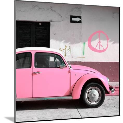 ¡Viva Mexico! Square Collection - Pink VW Beetle Car & Peace Symbol-Philippe Hugonnard-Mounted Photographic Print