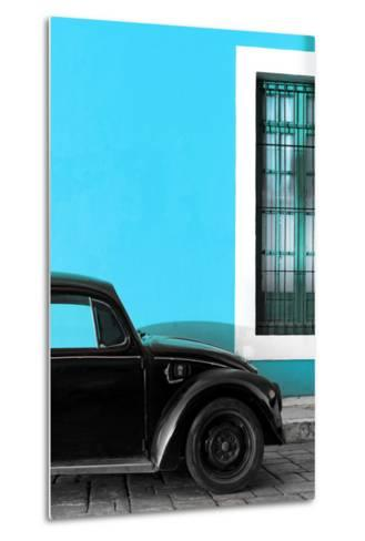 ¡Viva Mexico! Collection - Black VW Beetle with Blue Street Wall-Philippe Hugonnard-Metal Print