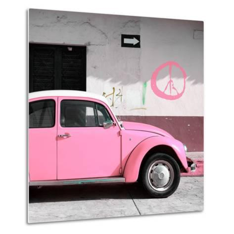 ¡Viva Mexico! Square Collection - Pink VW Beetle Car & Peace Symbol-Philippe Hugonnard-Metal Print