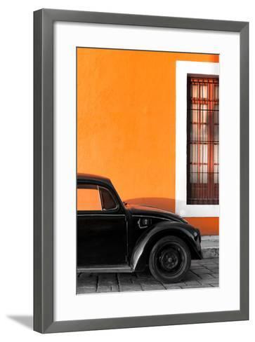 ¡Viva Mexico! Collection - Black VW Beetle with Orange Street Wall-Philippe Hugonnard-Framed Art Print