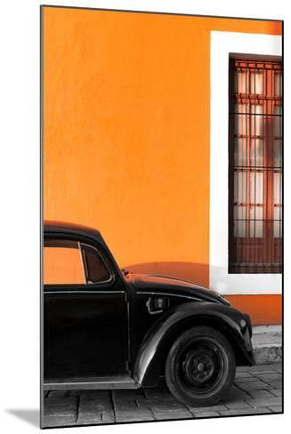¡Viva Mexico! Collection - Black VW Beetle with Orange Street Wall-Philippe Hugonnard-Mounted Photographic Print