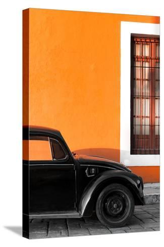 ¡Viva Mexico! Collection - Black VW Beetle with Orange Street Wall-Philippe Hugonnard-Stretched Canvas Print