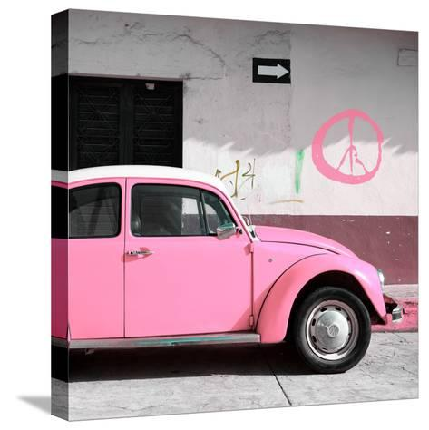 ¡Viva Mexico! Square Collection - Pink VW Beetle Car & Peace Symbol-Philippe Hugonnard-Stretched Canvas Print